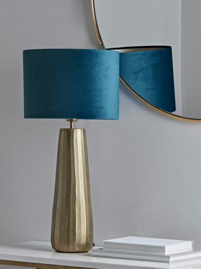 Brass & Navy Tapered Table Lamp
