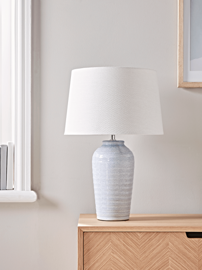Ribbed Blue Table Lamp