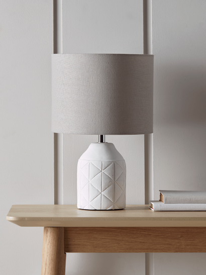 Geometric Bedside Lamp - White