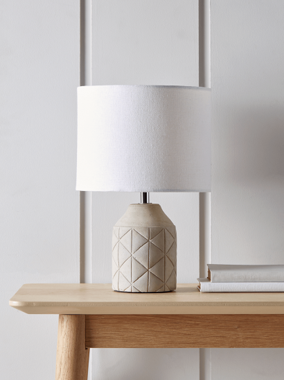 Geometric Bedside Lamp - Grey