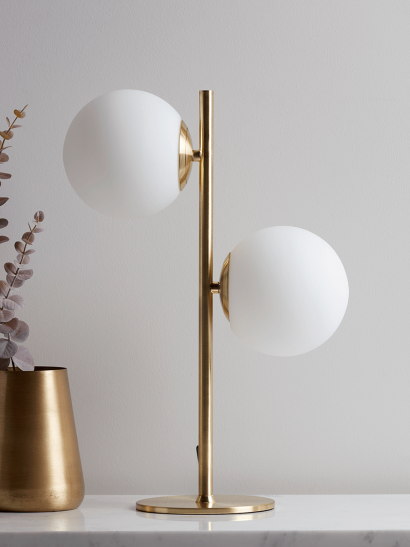 White & Brass Globe Deco Table Lamp