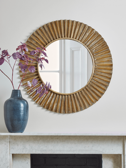 Fluted Gold Round Mirror