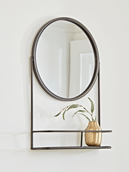 Bronze Round Shelf Mirror