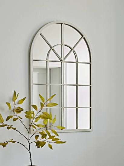 Cream Arched Window Mirror