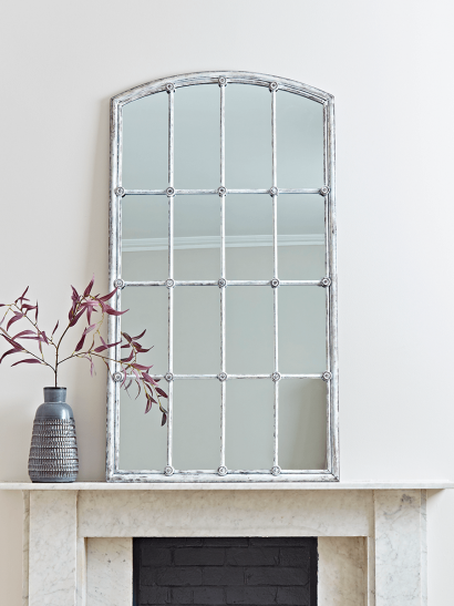 Distressed Grey Window Mirror