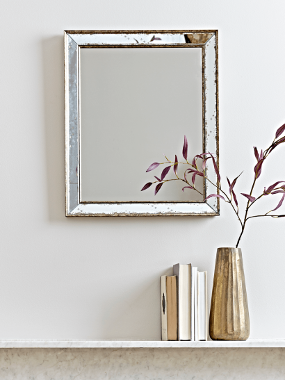 Antiqued Glass Frame Mirror - Small