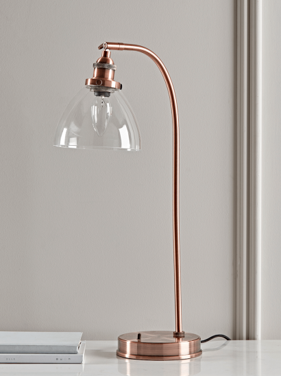 Domed Glass Table Lamp - Copper