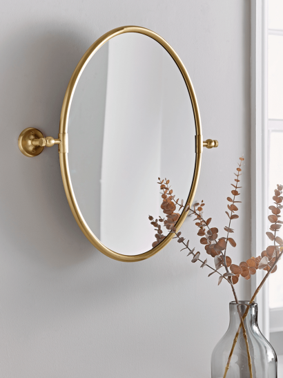 French Oval Mirror - Brass