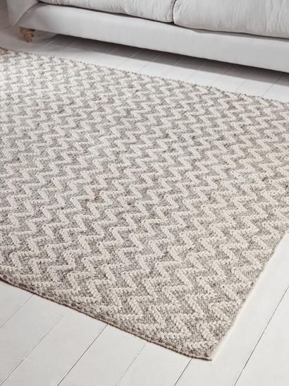 Textured Grey Wool Rug -  Chevron