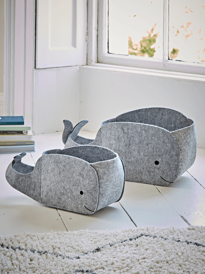Two Felt Whale Storage Bags