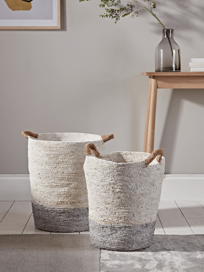 Two Tall Grey & Natural Baskets
