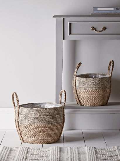 Two Dipped Straw Baskets