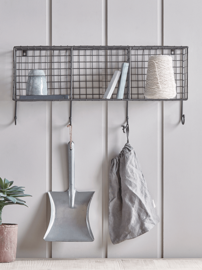 Open Wire Shelf Rack with Hooks