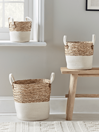 Three Dipped Baskets - Cream
