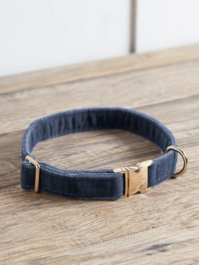NEW Navy Velvet Dog Collar