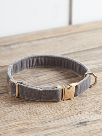 NEW Grey Velvet Dog Collar