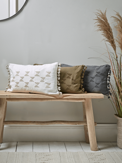 Linen Embroidered Cushion - Olive
