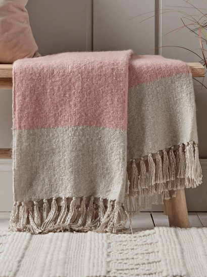 Fringe Two Tone Throw - Blush