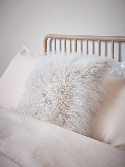 Tibetan Sheepskin Cushion - Ivory