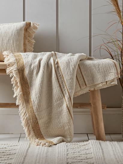 Woven Fringed Throw - Mustard