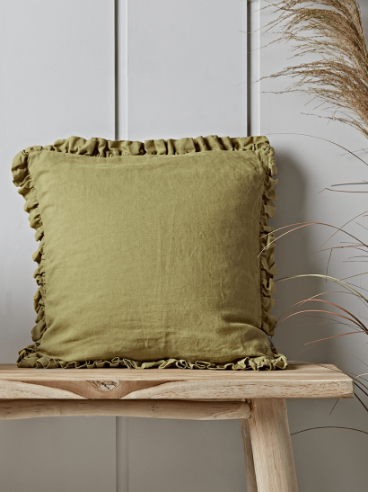 Ruffle Cushion - Golden Olive