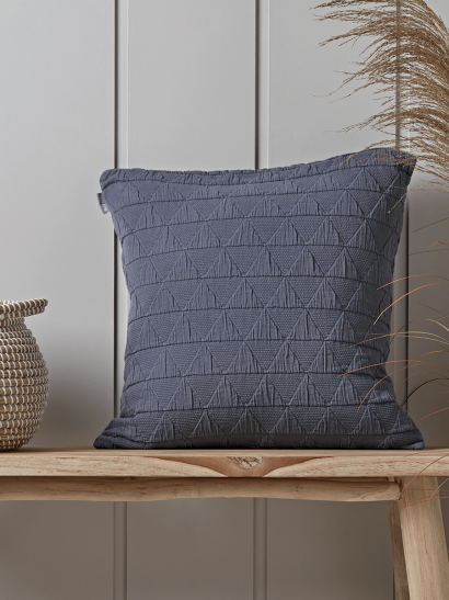 Soft Geometric Cushion - Indigo