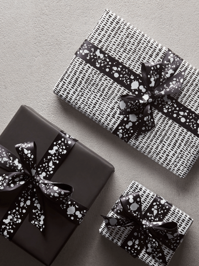 NEW Black & White Dashes Reversible Wrapping Paper
