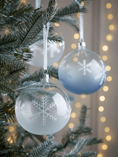 Four Large Glass Snowflake Baubles