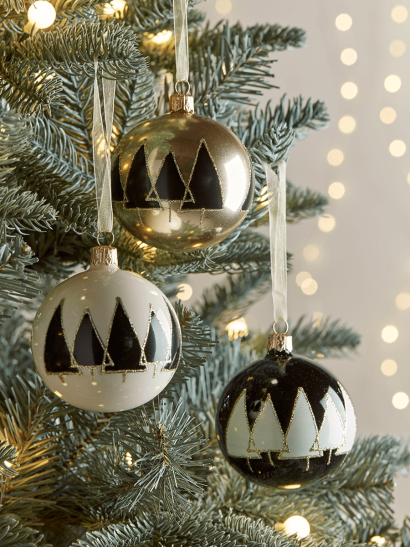 NEW Six Industrial Tree Glass Baubles