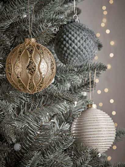 Three Large Textured Glass Baubles