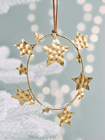 Four Hammered Metal Star Mini Wreathes