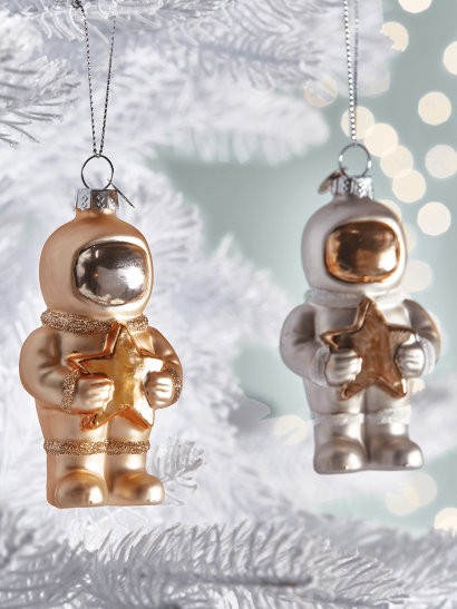 NEW Four Spacemen Glass Baubles