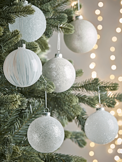 NEW Six Frosted White Glass Baubles