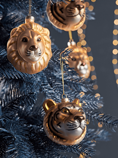 Six Lion & Tiger Glass Baubles