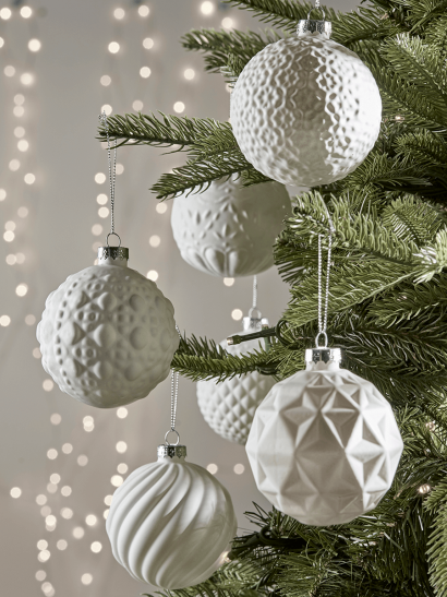 Six Winter White Textured Baubles