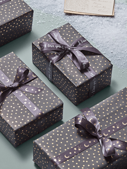 Mini Stars Wrapping Paper - Grey & Gold