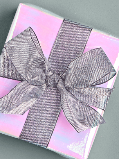 Glittered Lurex Ribbon - Charcoal