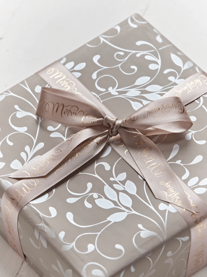 NEW Soft Taupe Merry Christmas Ribbon
