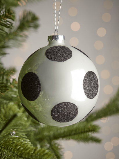 Four Glittered Large Glass Baubles - Dots