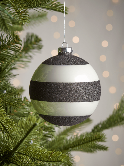 NEW Four Glittered Large Glass Baubles - Stripes