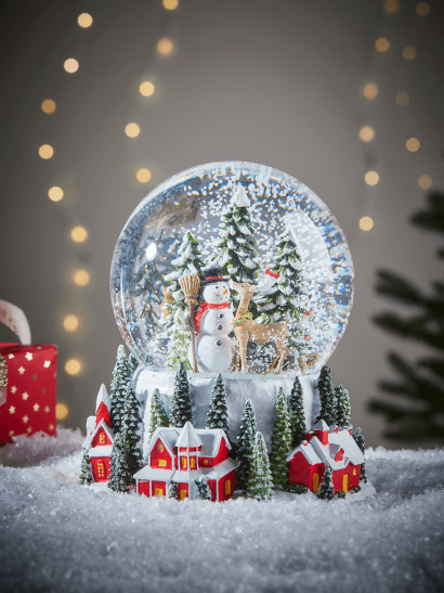 NEW Snowman & Deer Musical Snowglobe