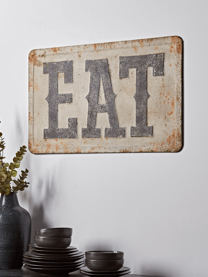 NEW Distressed Metal Eat Sign
