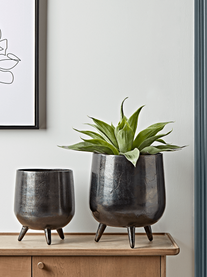 Two Textured Standing Planters - Black