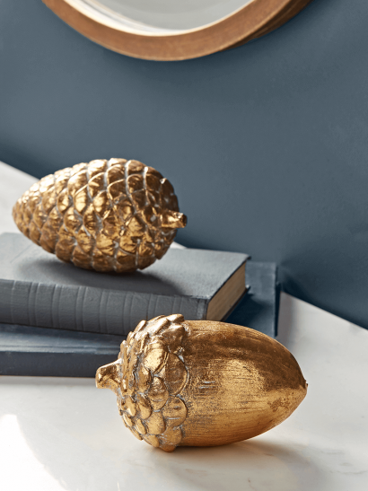 NEW Aged Gold Acorn & Pinecone