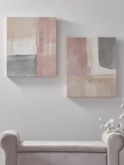 Two Blush Block Canvases
