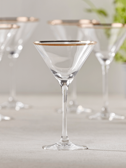 NEW Six Gold Rim Martini Glasses