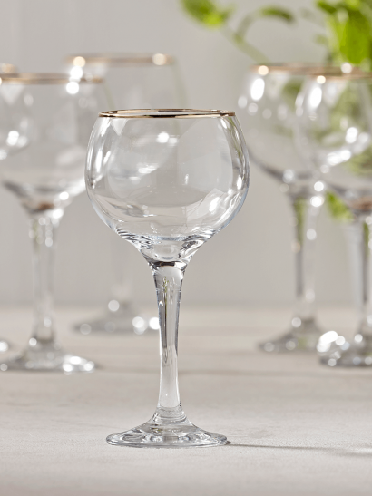 NEW Six Gold Rim Wine Glasses