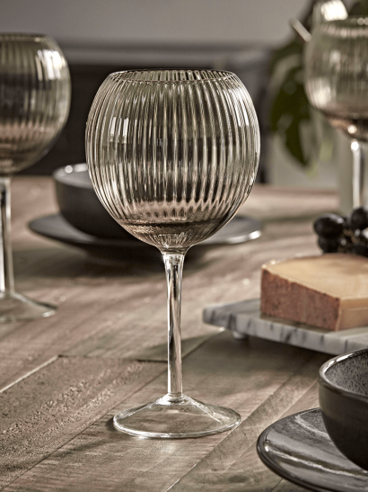 NEW Six Smoke Fluted Wine Glasses
