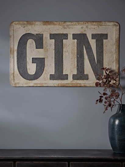 NEW Distressed Metal Gin Sign