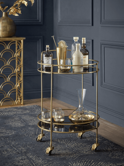 Smoked Glass & Brass Cocktail Trolley